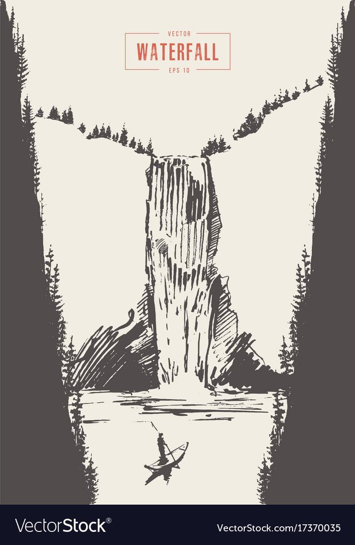 Vintage of beautiful waterfall drawn vector image