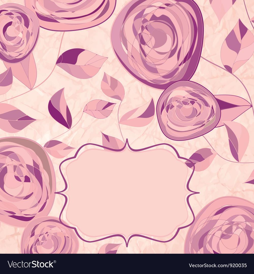 Vintage Rose Pattern Card vector image