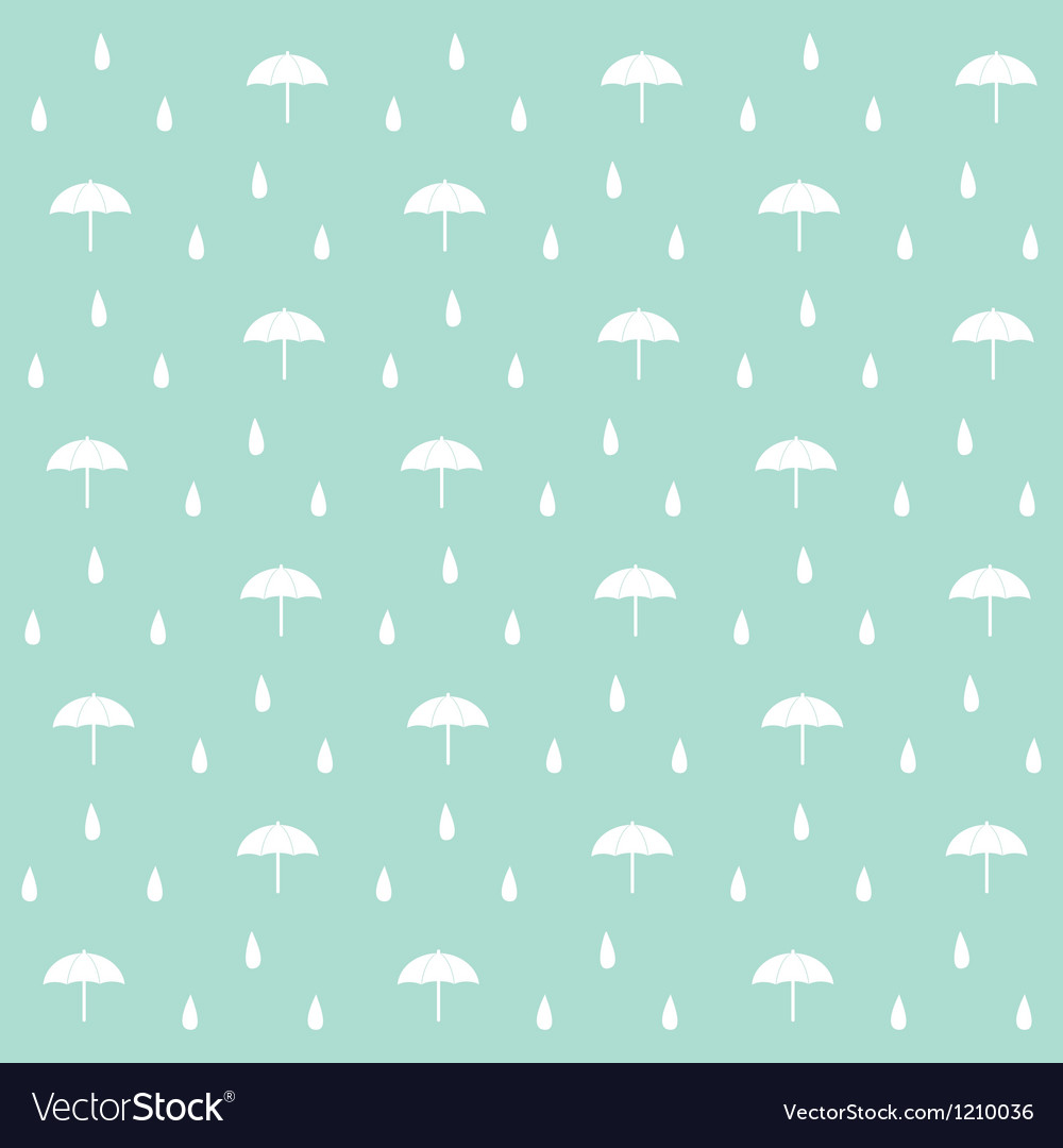 Seamless raindrops pattern with umbrella on paper Vector Image