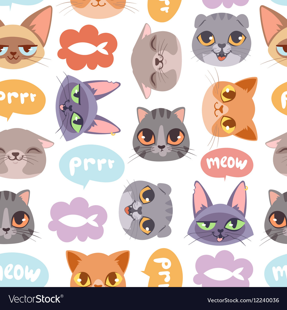 Cat head seamless pattern vector image