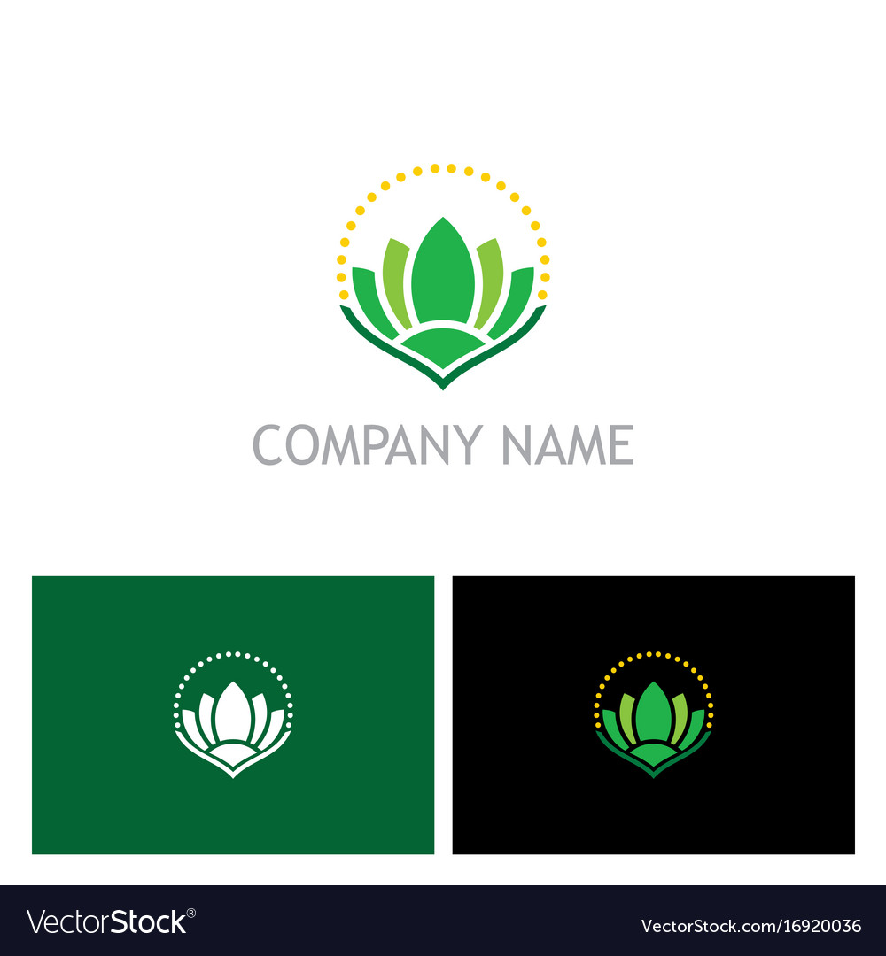 Green lotus flower beauty spa logo vector image