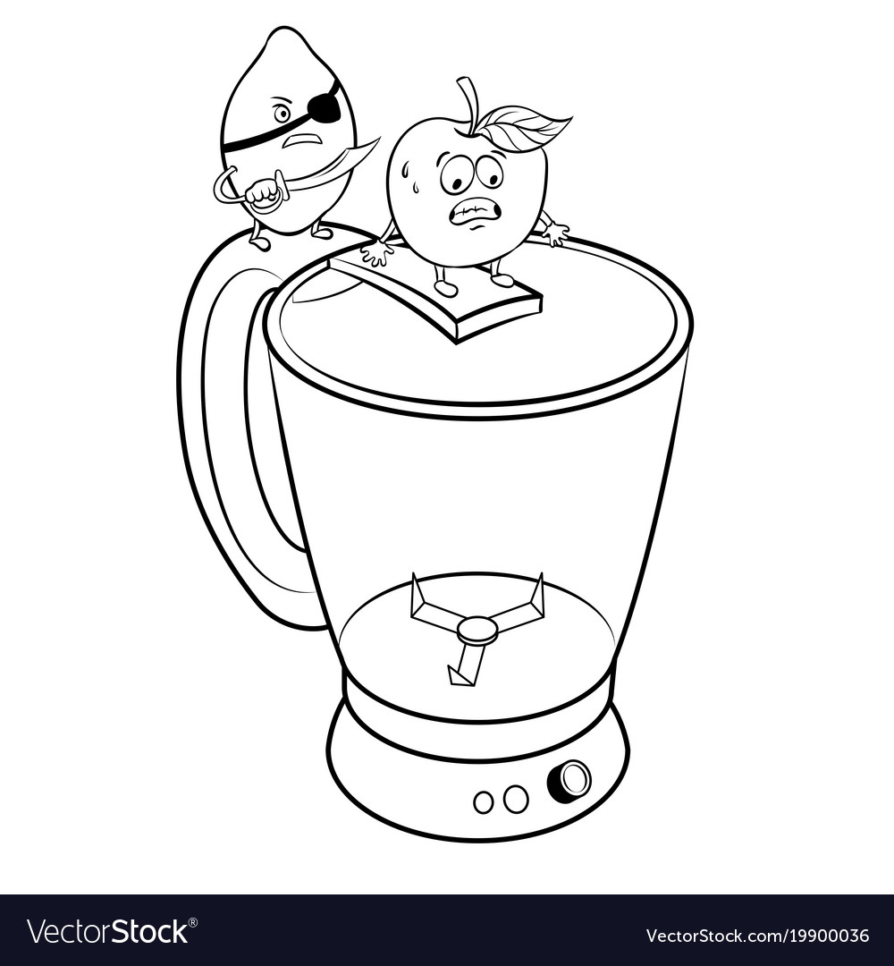 Lemon pirate and apple coloring book Royalty Free Vector