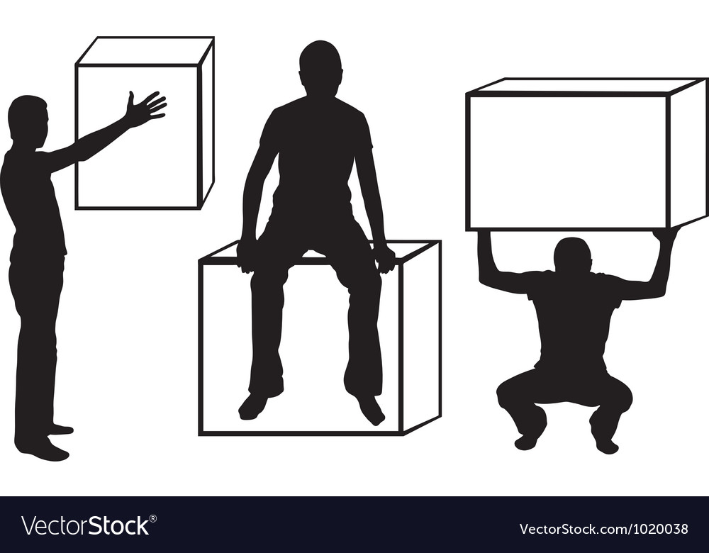 Set of silhouettes with boxes vector image