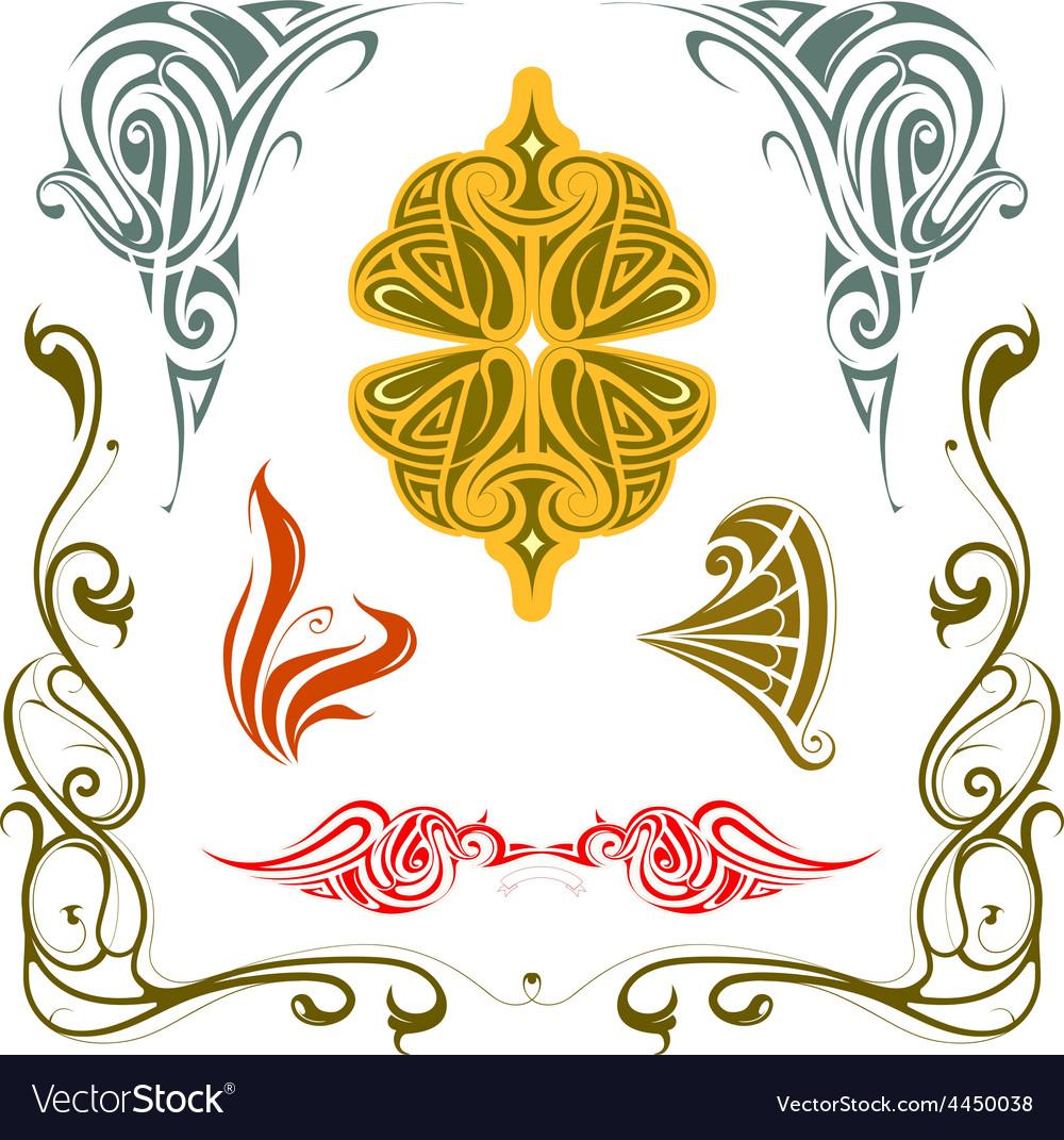 Art nouveau style design elements set vector image