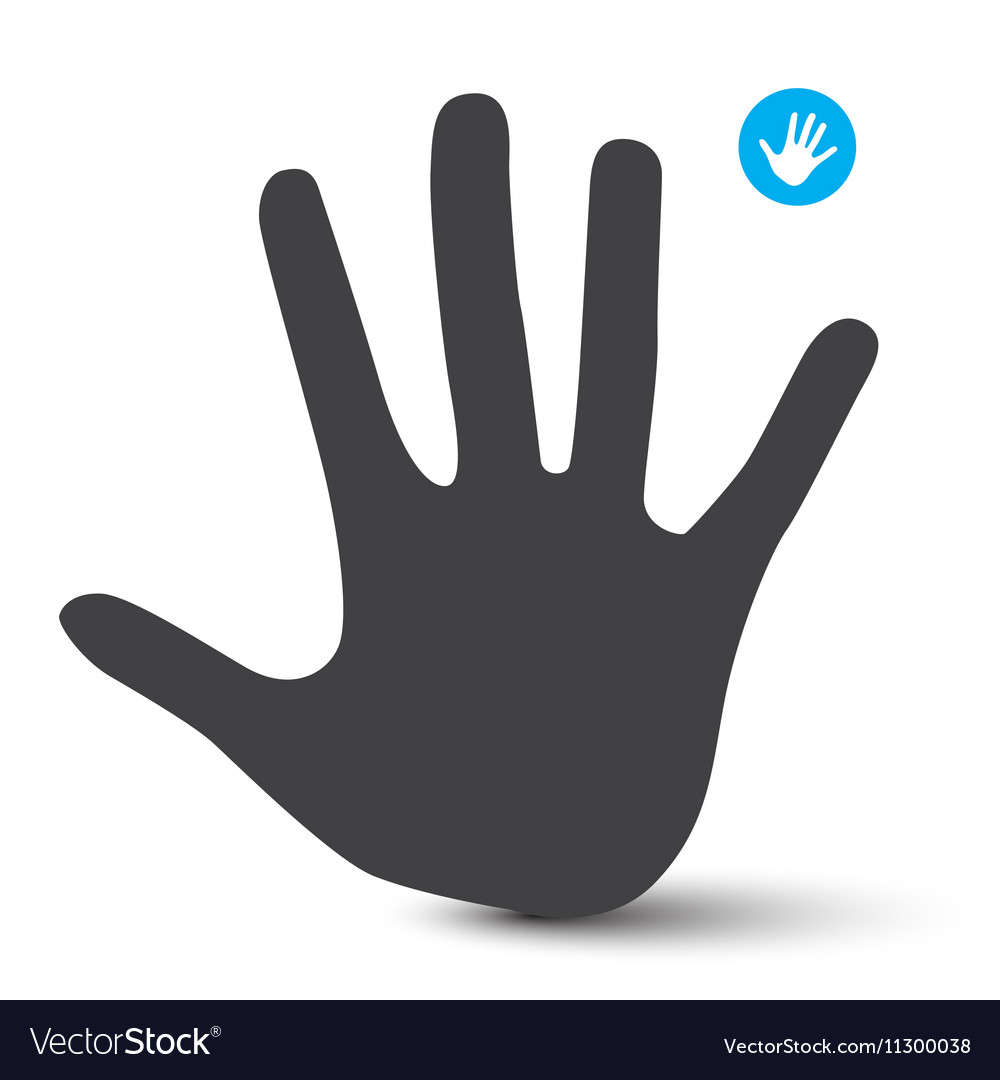 Hand Icon Palm Hand Symbol Isolated on White vector image