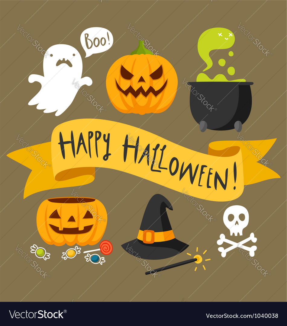 Happy Halloween card Royalty Free Vector Image