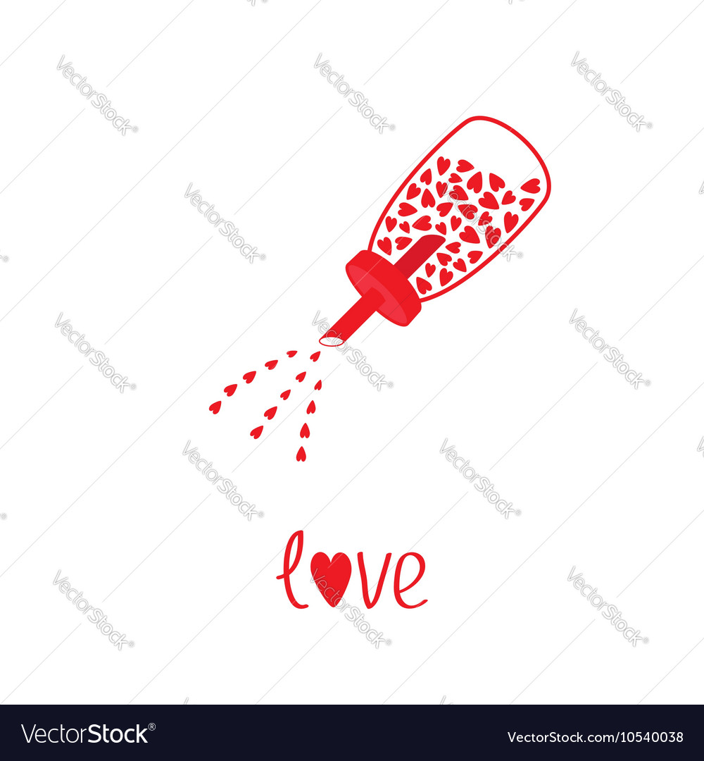 Sugar bowl basin shaker bottle with hearts vector image