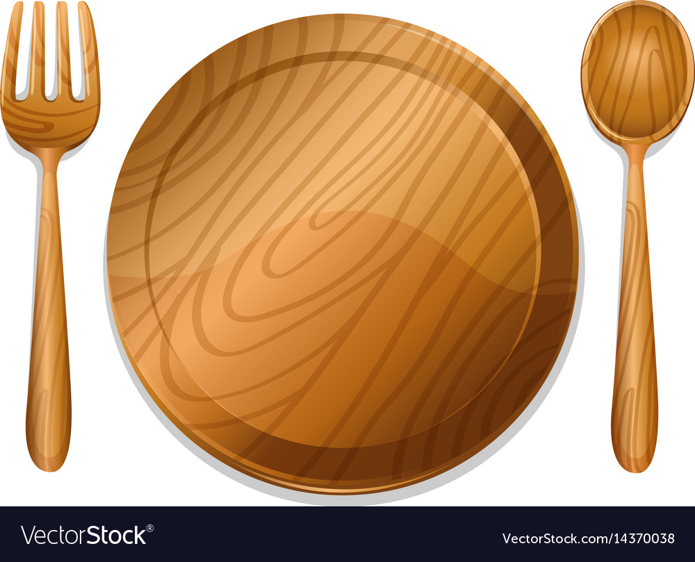 & Wooden plate with pair of fork and spoon Vector Image