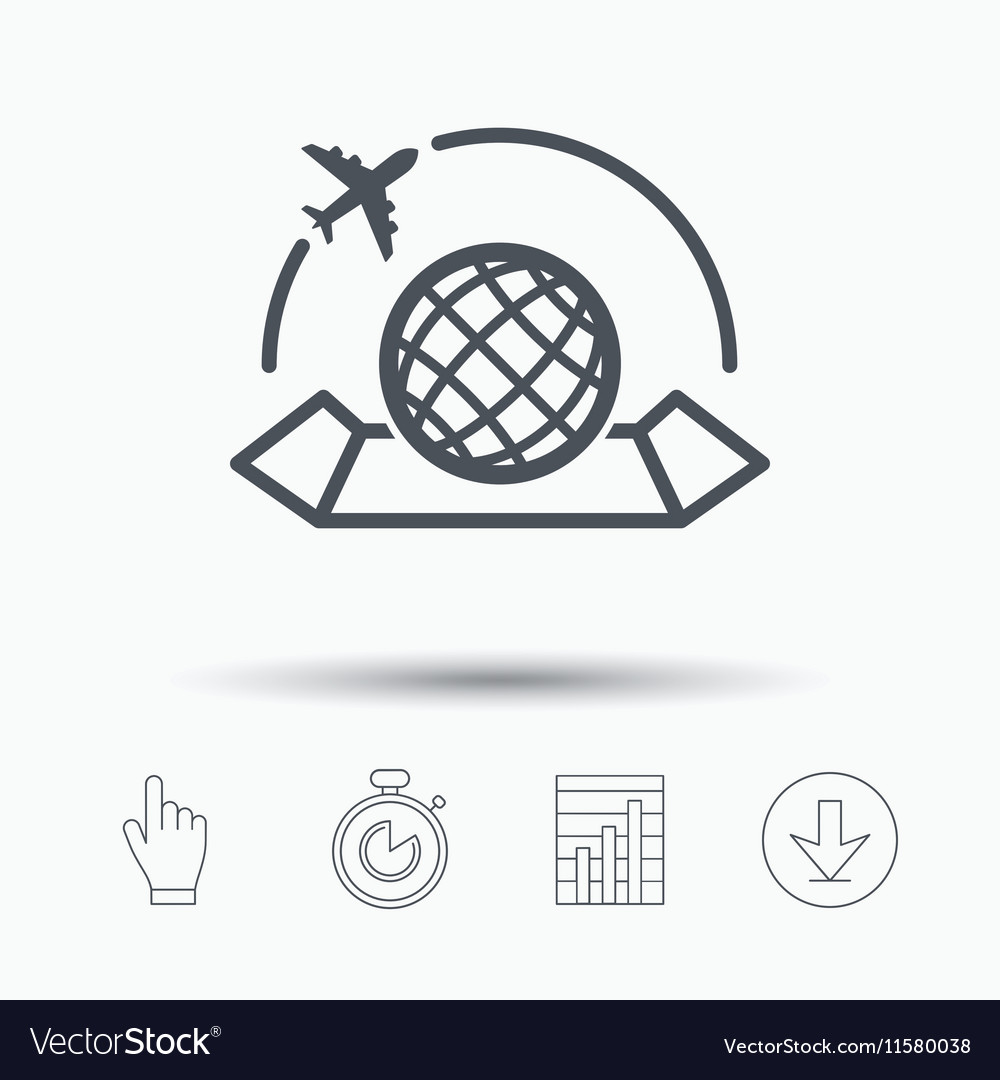 World map icon Plane travel sign vector image