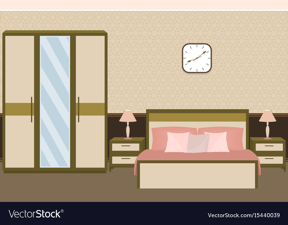 Bedroom interior in pastel colors with furniture vector image