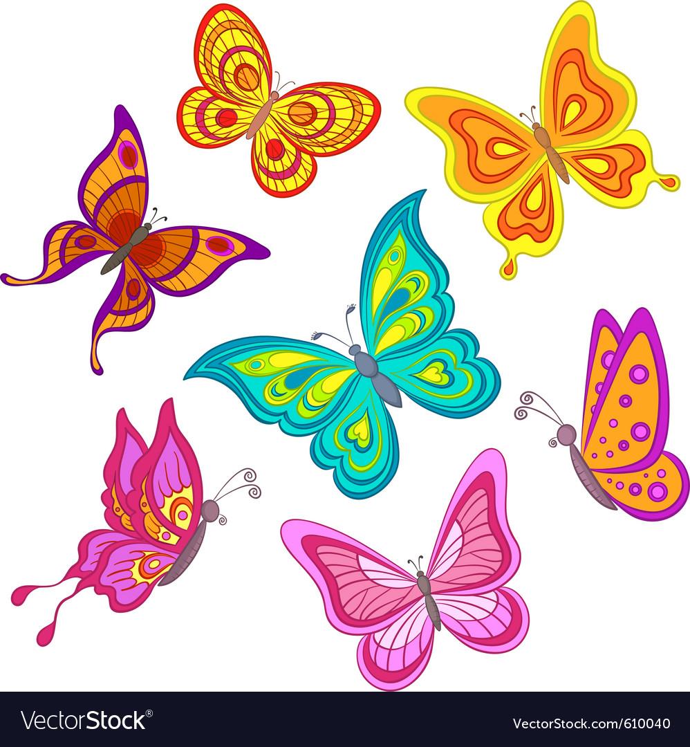Cartoon butterflies vector image