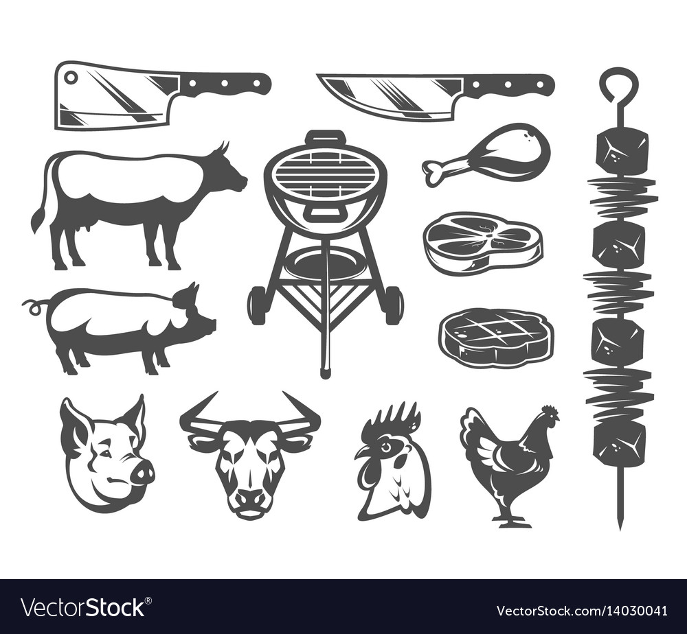 Set grill and barbecue icons vector image