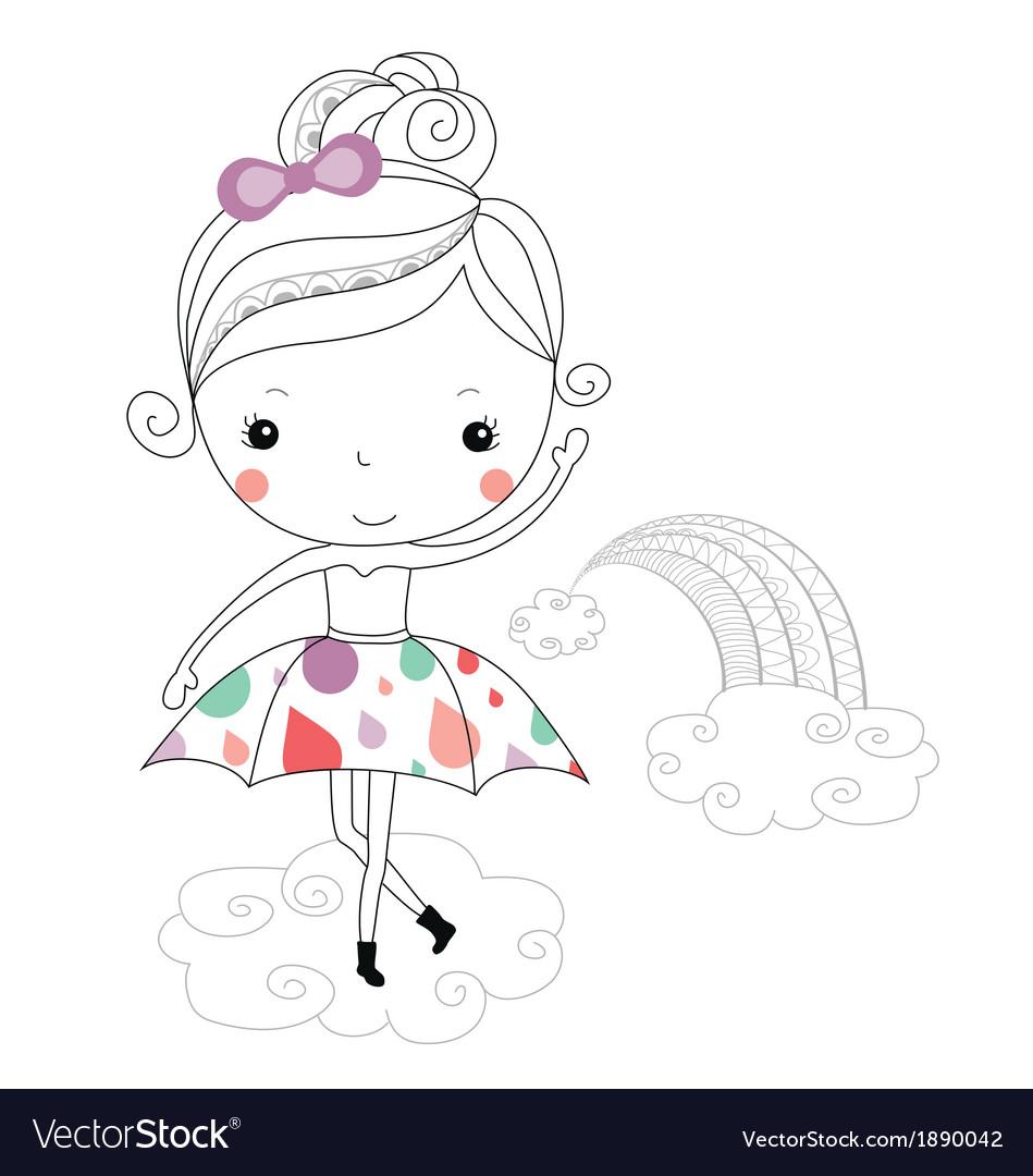 Fairytale ballerina -rain kids vector image
