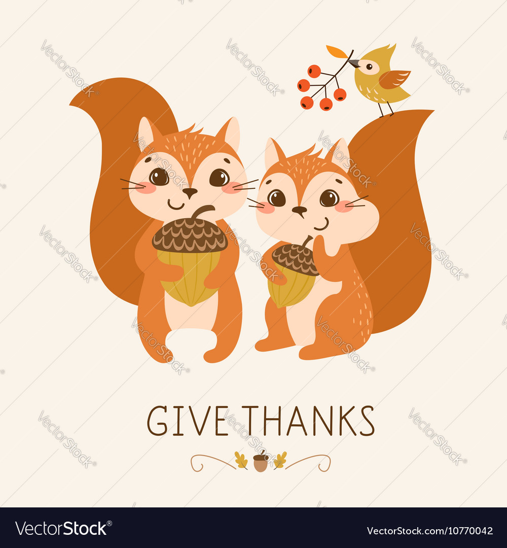 Cute Thanksgiving squirrels vector image