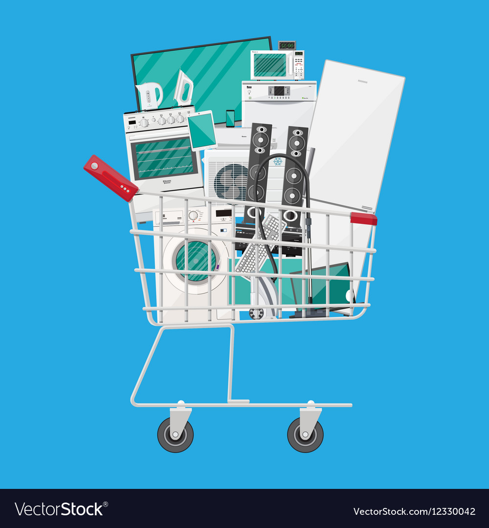 Household devices in shopping cart vector image