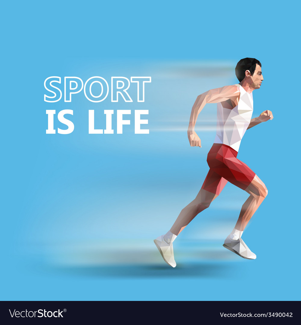 Polygonal running man geometric sport is life vector image
