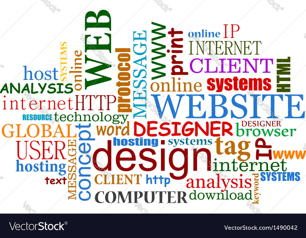 Web and internet design tags cloud vector image