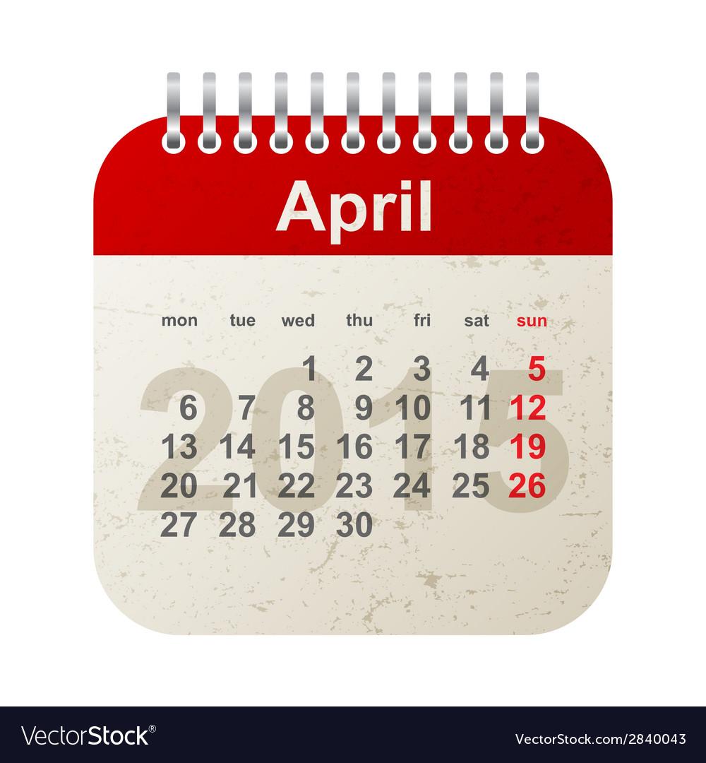 Calendar 2015 - april vector image