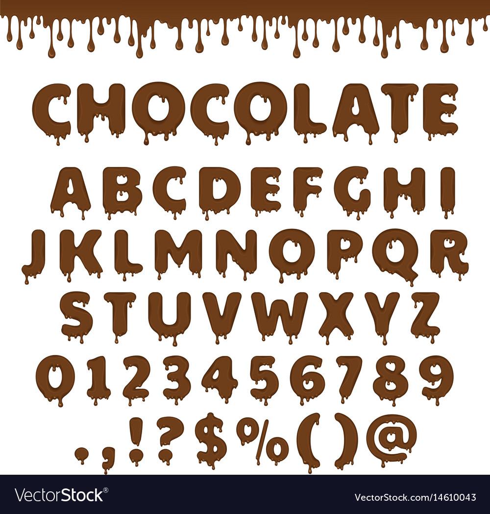 Chocolate latin alphabet vector image