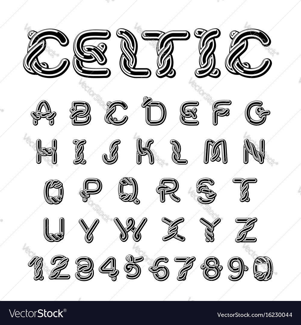 Celtic font norse medieval ornament abc vector image