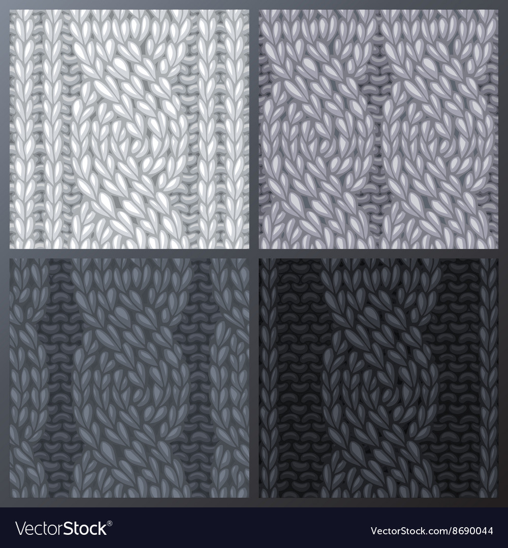 Set of Seamless Six-Stitch Cable Stitch Patterns vector image