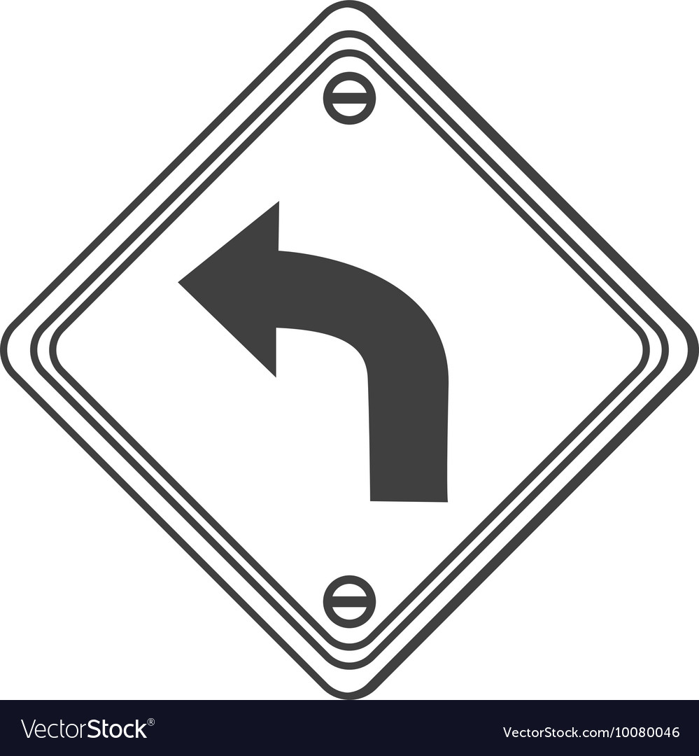 Left curve ahead traffic sign icon vector image