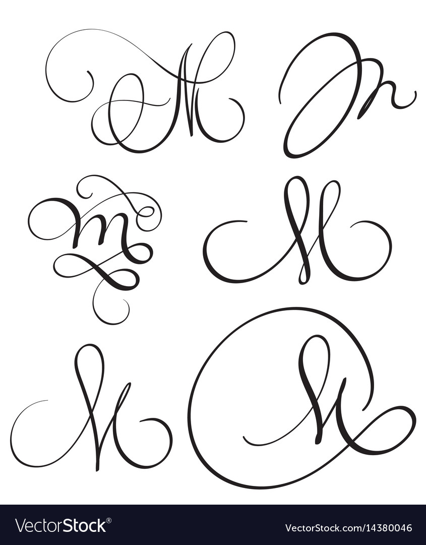 Set of art calligraphy letter m with flourish of vector image