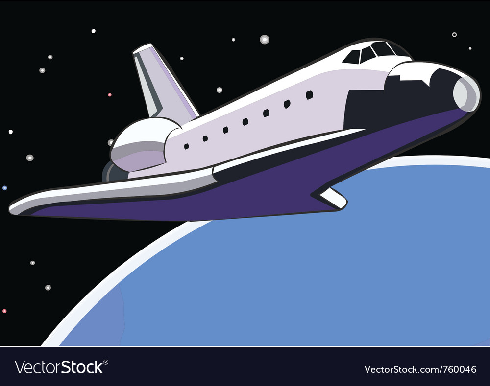 Space shuttle in orbit vector image