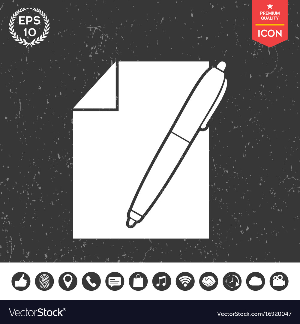 Sheet of paper and pen symbol icon royalty free vector image sheet of paper and pen symbol icon vector image biocorpaavc Choice Image