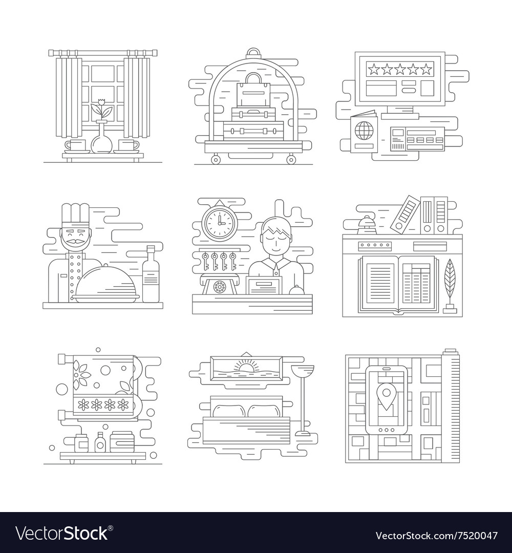 Travel services icons flat line style vector image