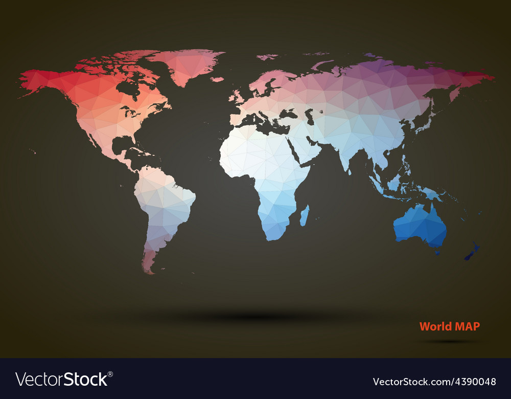 Abstract colorful triangle world map royalty free vector abstract colorful triangle world map vector image gumiabroncs Image collections