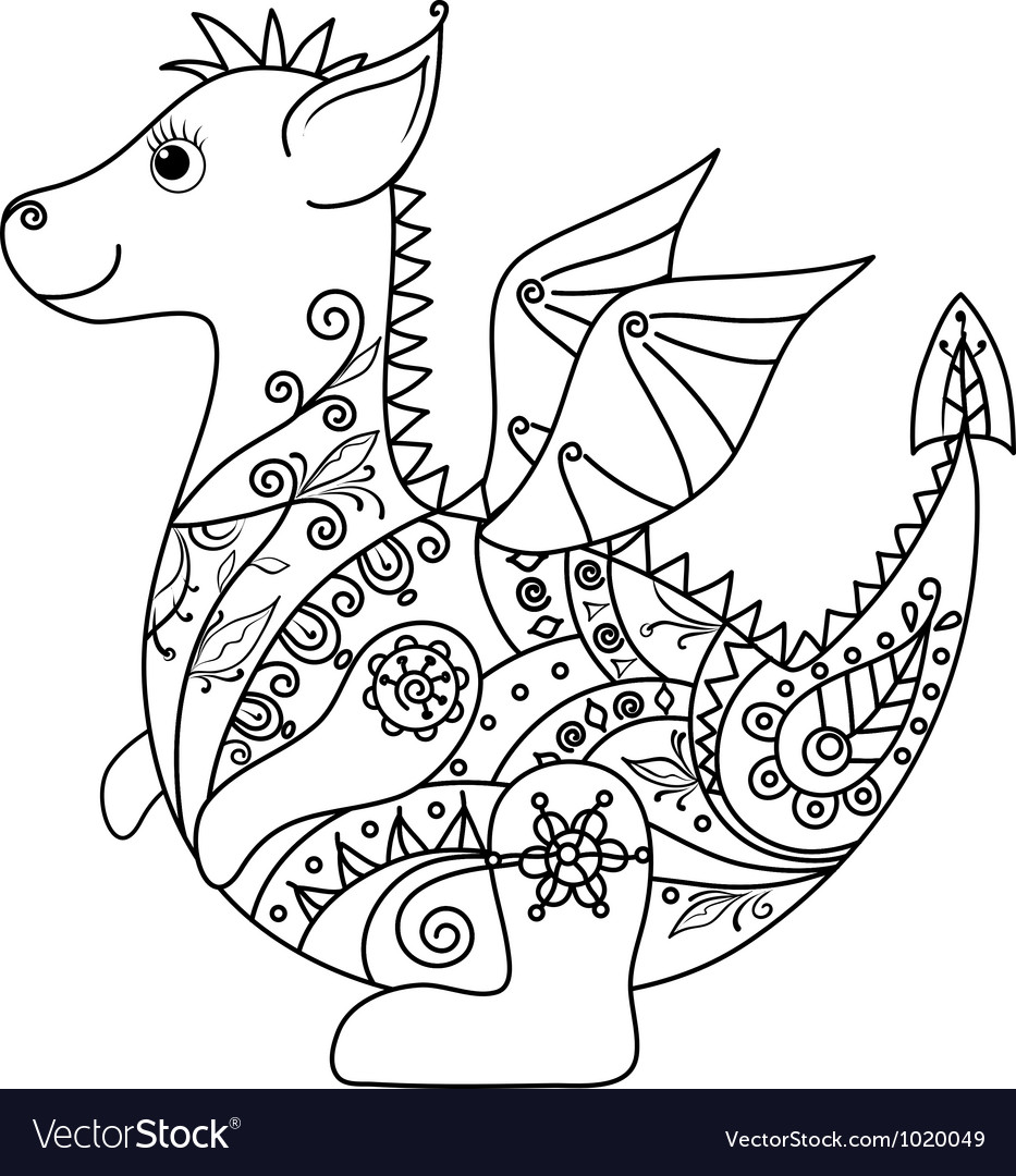 Cartoon Dragon outline vector image