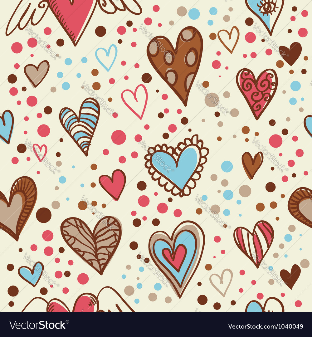 Cute doodle seamless wallpaper vector image
