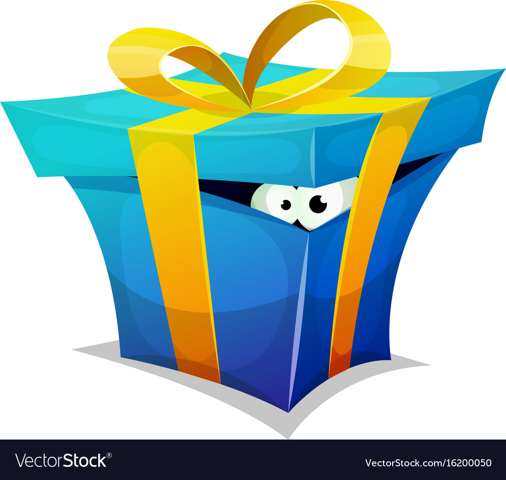 Birthday gift box with fun creature inside vector image