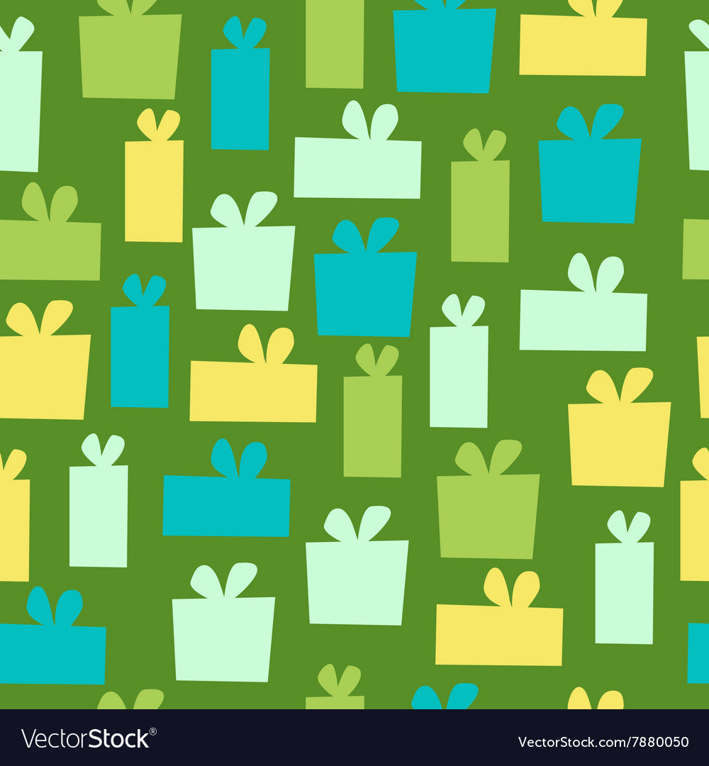 Seamless Gift Pattern on green background vector image