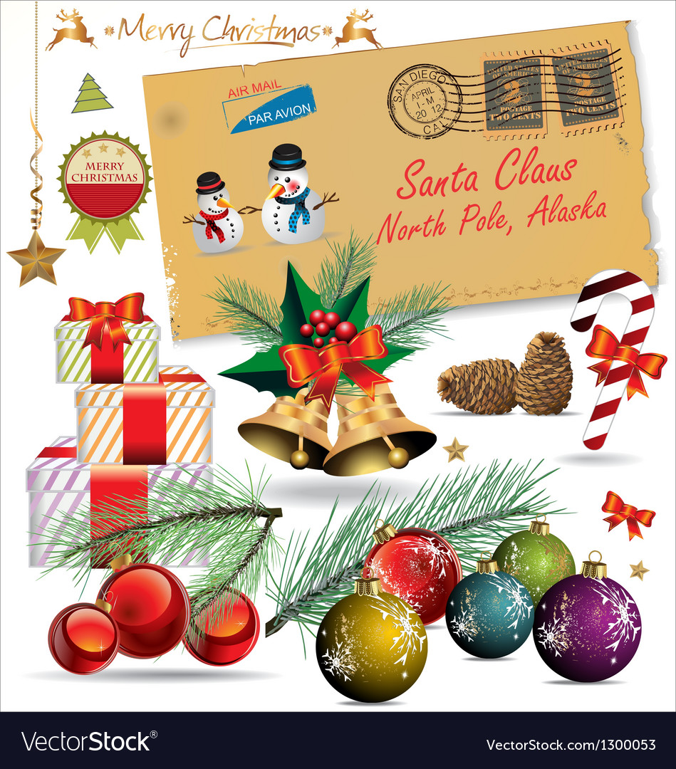 Merry Christmas and happy new year design elements vector image