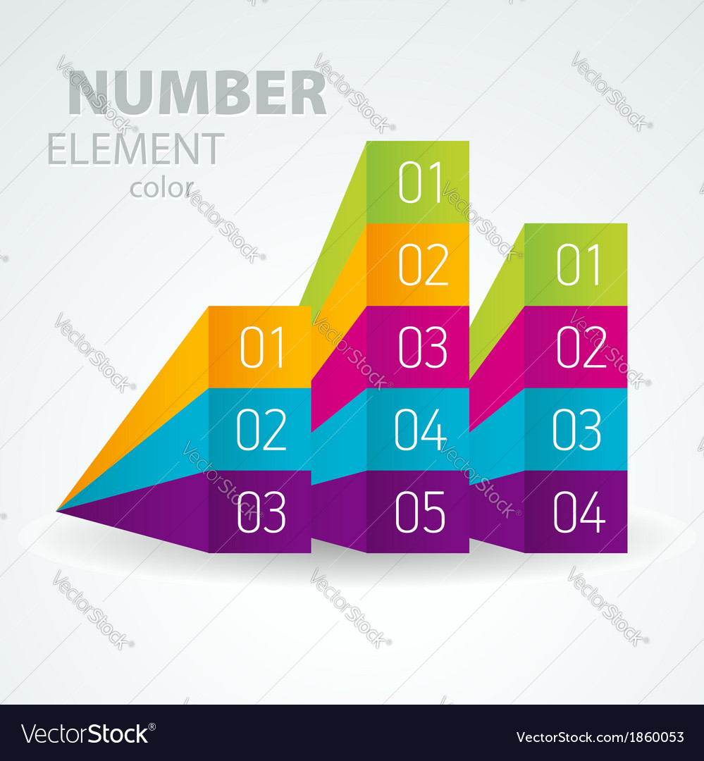 Number list perspective arrow cursor element set vector image