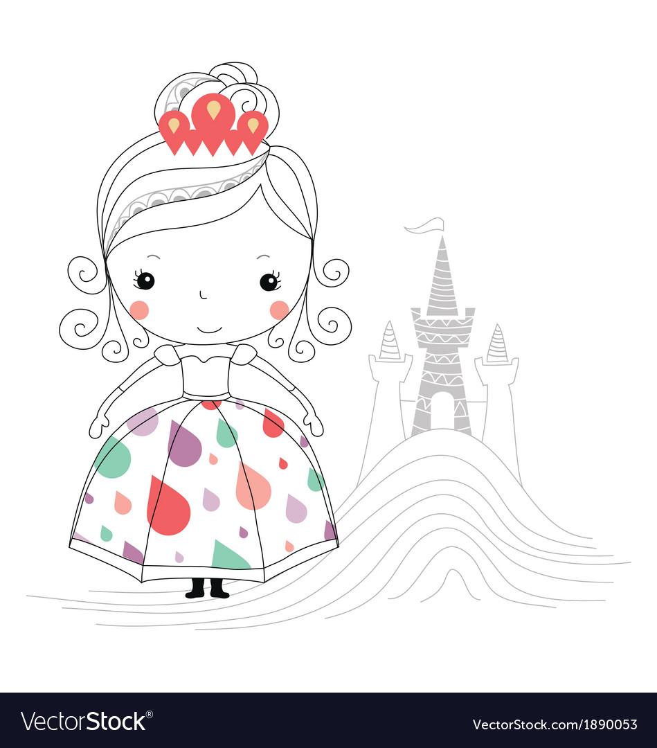 Fairytale princess -rain kids Vector Image