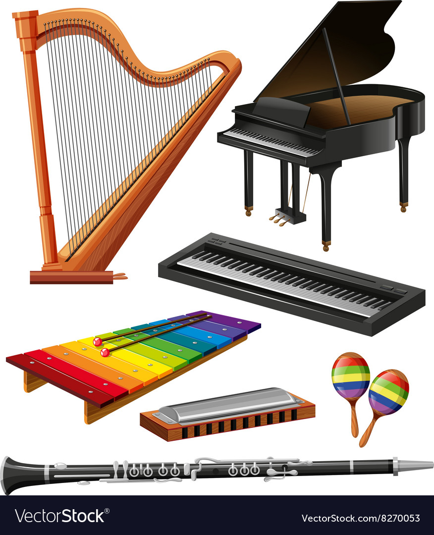 Different kind of musical instruments vector image