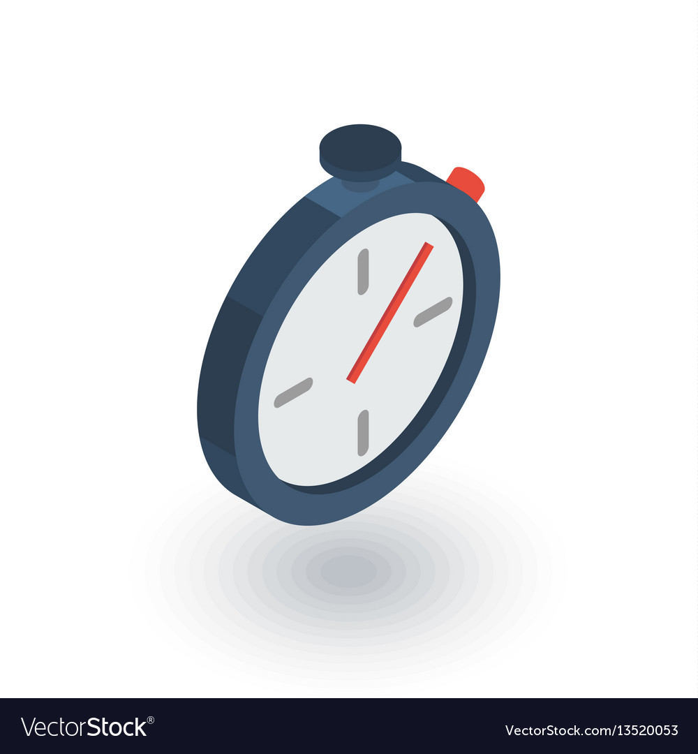 Stopwatch isometric flat icon 3d vector image
