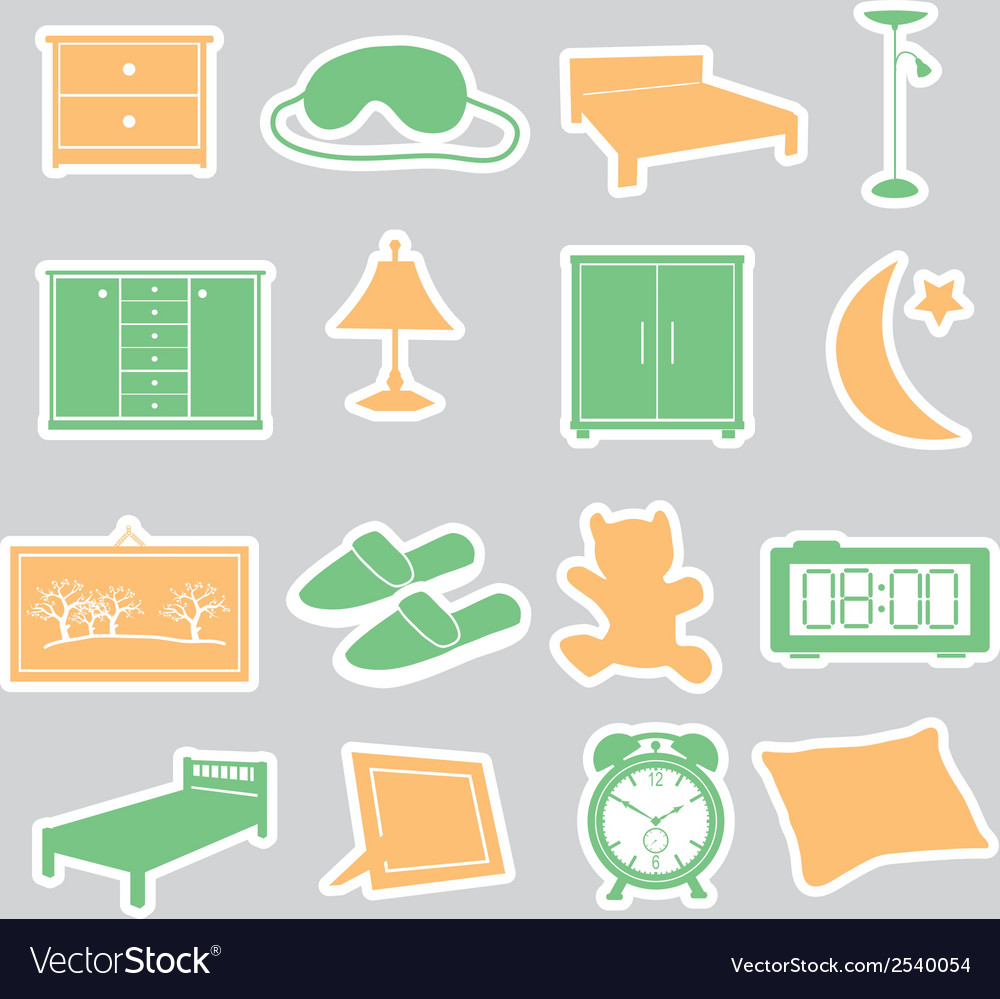 Bedroom stickers set eps10 vector image