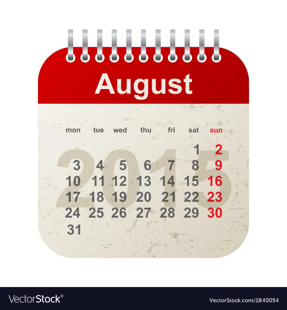 Calendar 2015 - august vector image