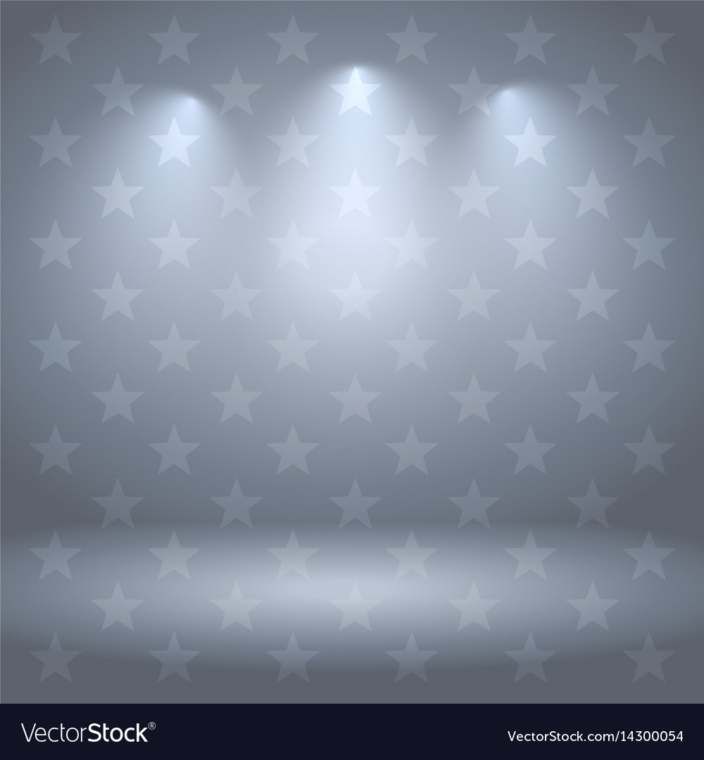 Gray studio background with stars and lights vector image