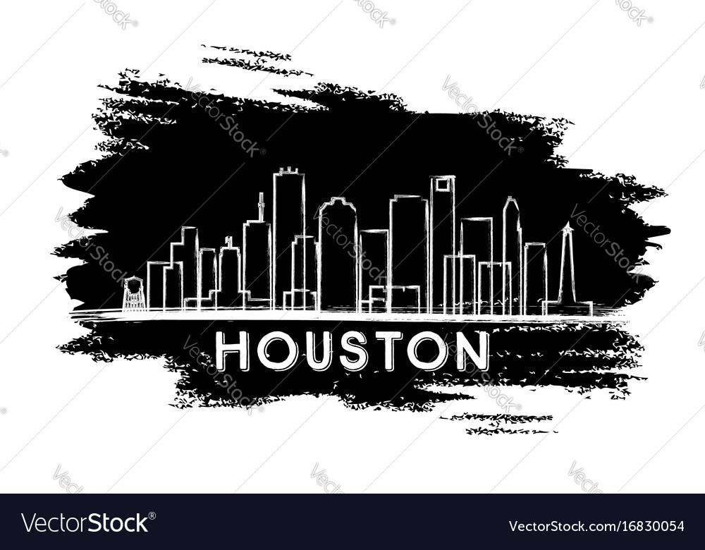 Houston Skyline Silhouette Hand Drawn Sketch Vector Image