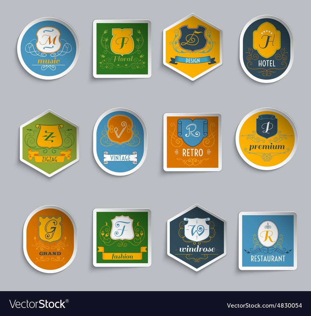 Monogram shields stickers set vector image