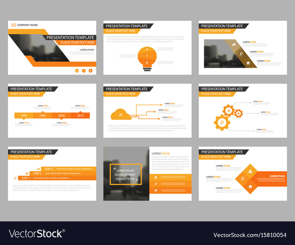 Orange presentation templates infographic vector image