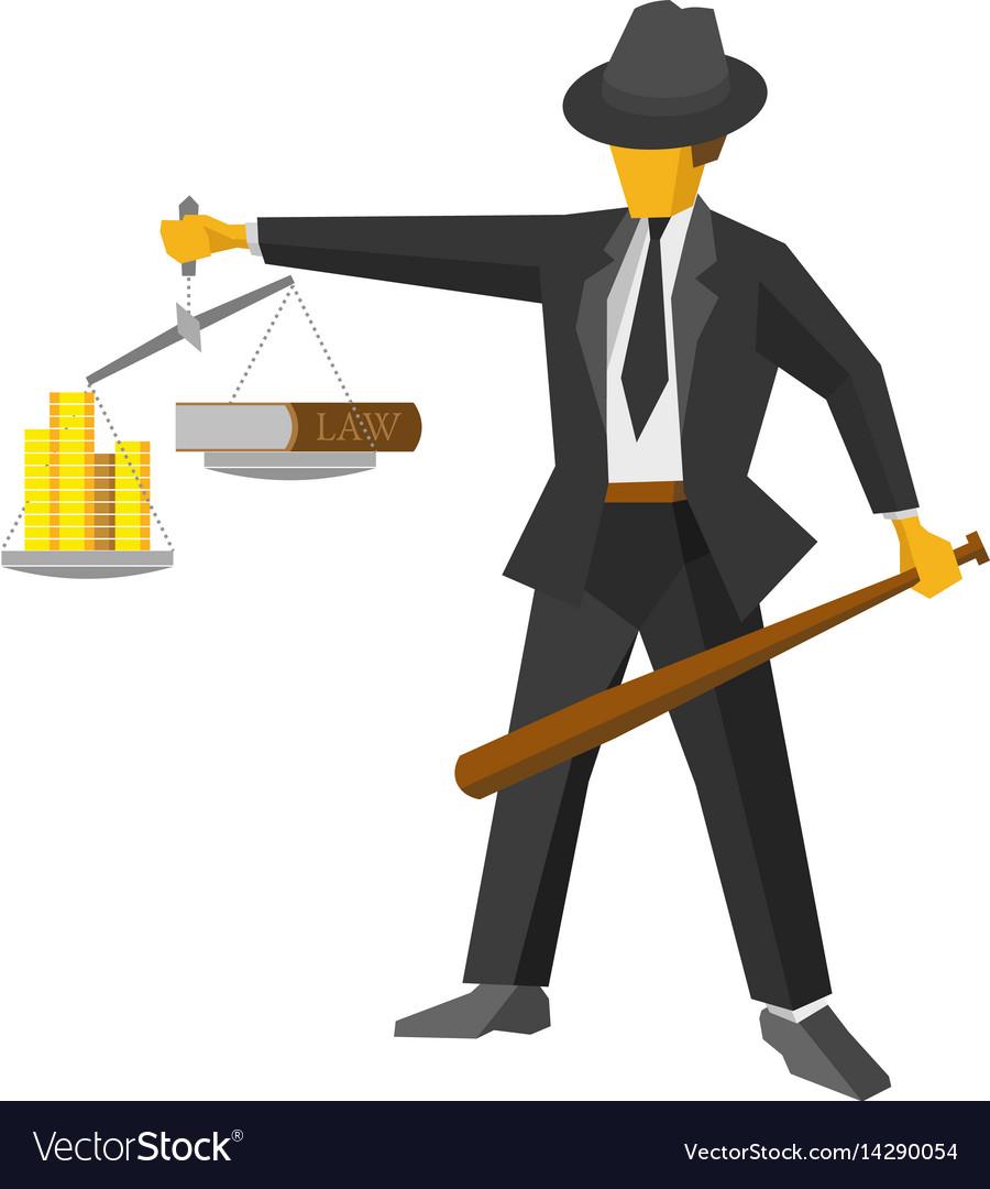 Retro mafia man with balance like god of justice vector image