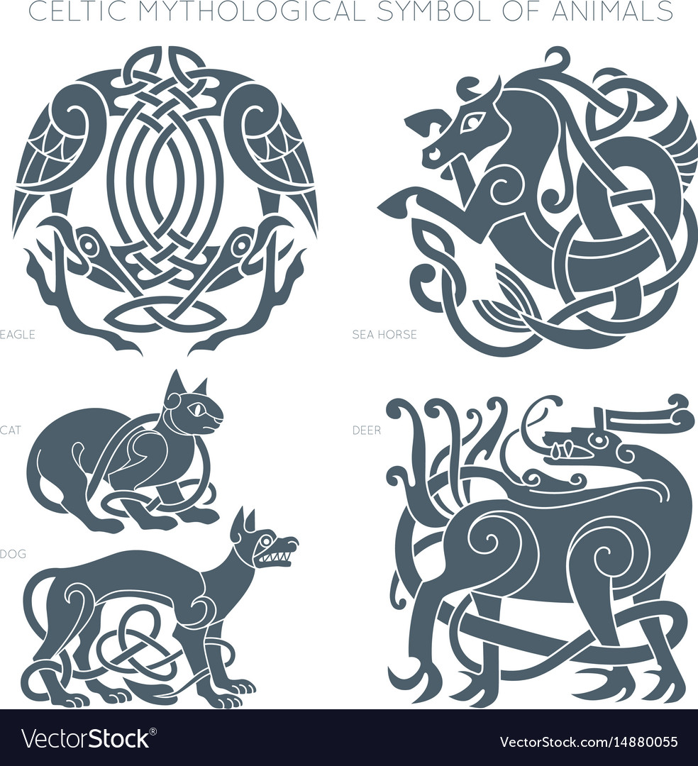 Ancient celtic mythological symbol of animals vector image