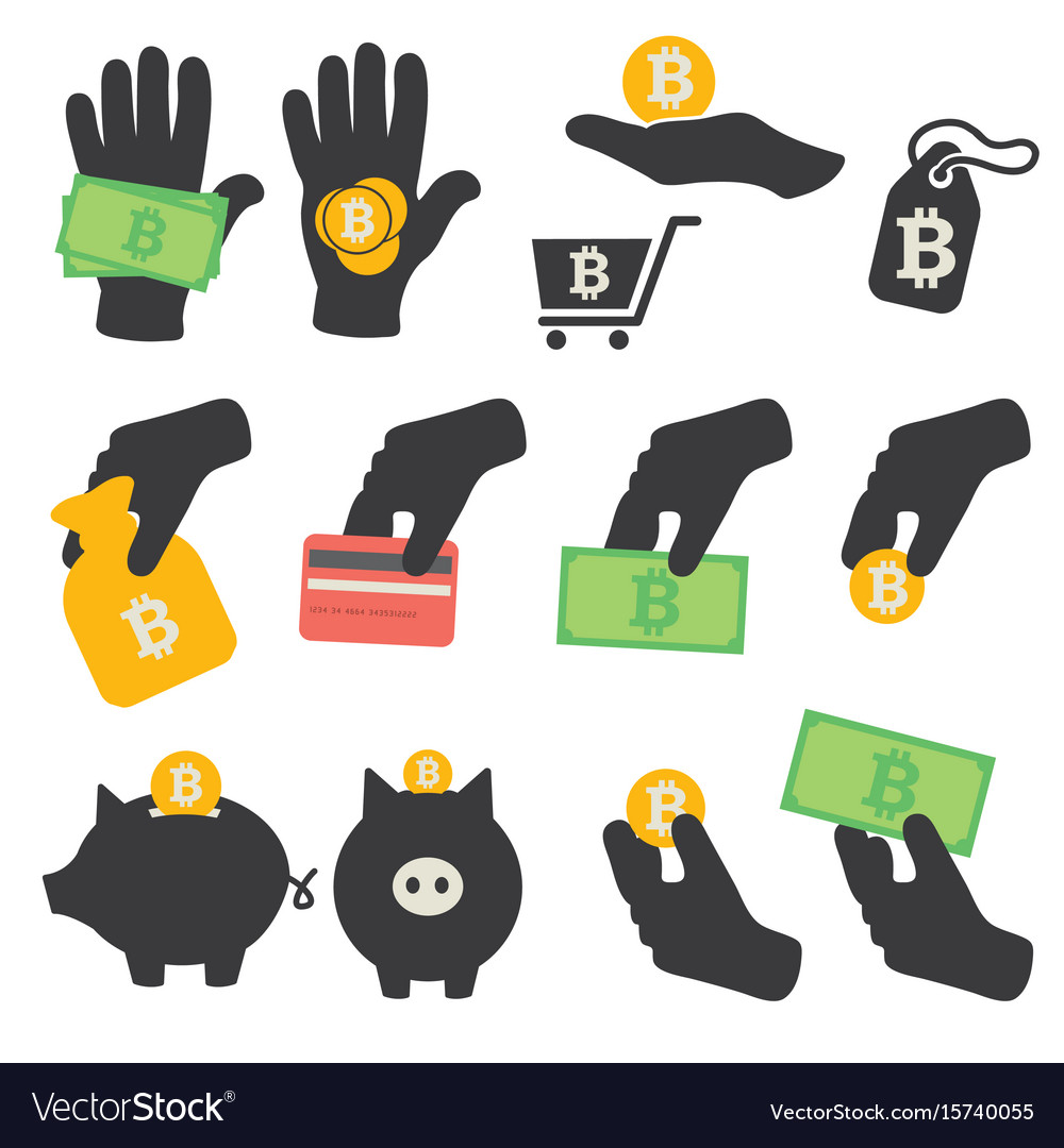 Bitcoin symbols icons set vector image