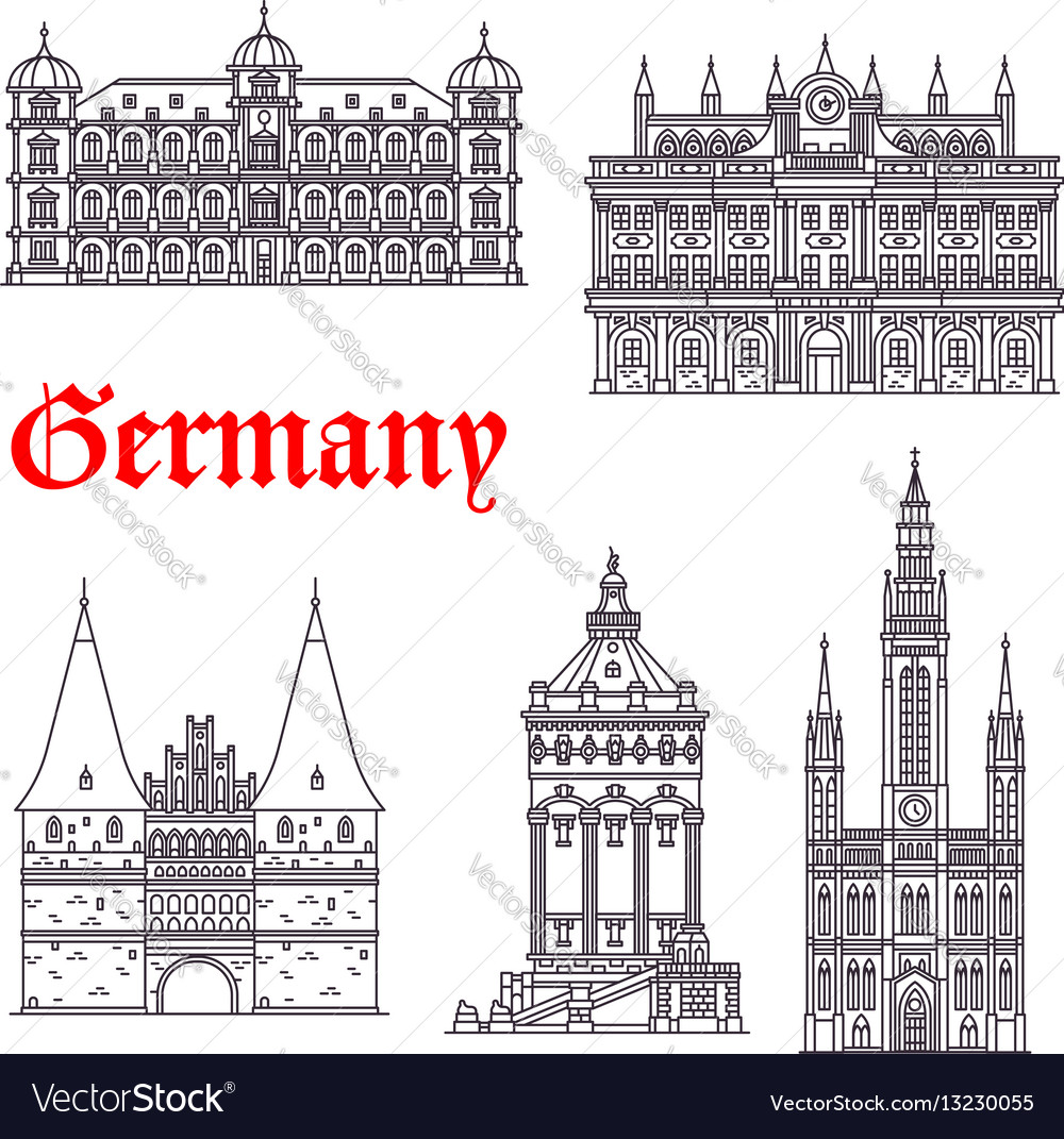 Germany historic buildings architecture vector image